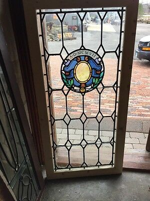 Sg 1279 Antique Painted And Fired Leaded Stained Glass Window 25.75 X 52.5