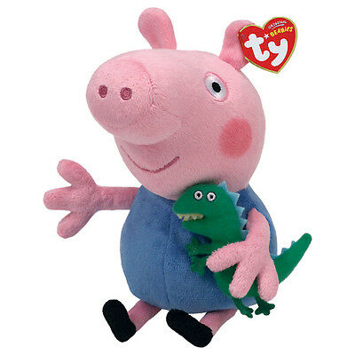 "George Beanie Plush Soft Toy, Dinosaur, Peppa Pig 7"" (18cm)"