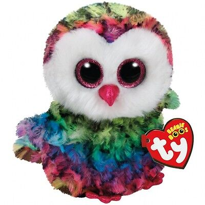 "Owen The Multi-color Owl Plush Soft Toy, TY Beanie Boo's Collection 6"" (15cm)"