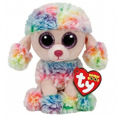 "Rainbow The Multi-color Poodle Dog Plush Soft Toy, TY Beanie Boos  6"" (15cm)"