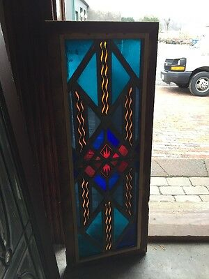 Sg 1286 Antique Painted And Fired Stainglass Window Fireworks 14 X 36.5