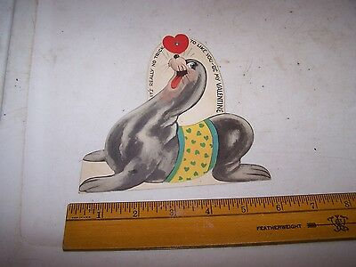 Vintage SEAL SEA LION Valentine made by Carrington Co Chicago Illinois