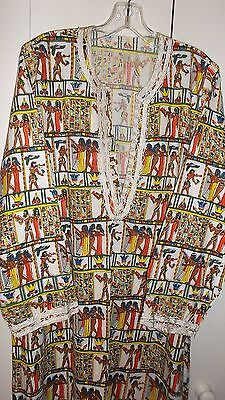 NEW Egyptian Caftan Colorful Hieroglyphics Print CairoEgypt  Mint Condition
