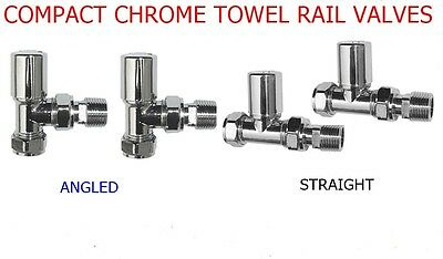 TOWEL RAIL RADIATOR COMPACT VALVE CHROME 15mm ANGLED STRAIGHT PAIR *CHEAPEST*