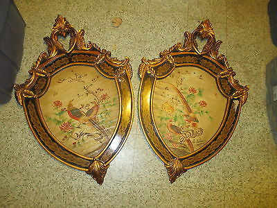 Vintage pair Wall Mt wood Pictures Shields gold gilded Chinese Pheasants Birds
