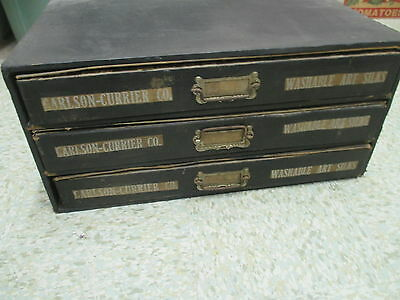 Antique Carlson Currier Co Cabinet Embroidery Washable Art Silks
