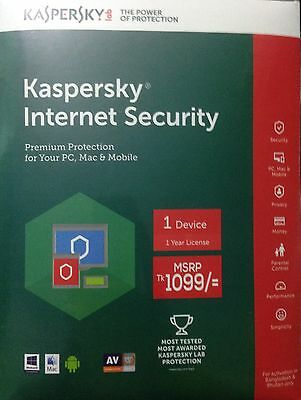 Kaspersky Internet Security 2017 1 Year 1 PC Free Delivery Download Version