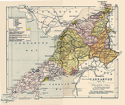 A3 Map of Carnarvon, Wales.