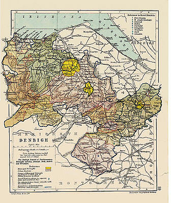 A3 Map of Denbigh, Wales.