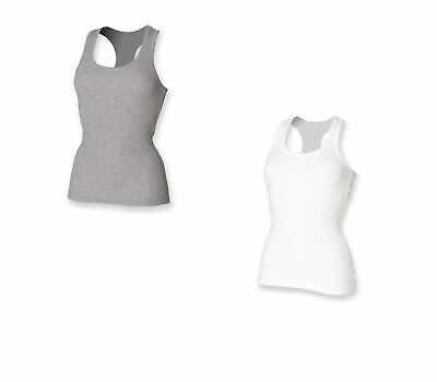 Ladies Women Cotton Rich Long Length Sleeveless Racerback Vest Top SK150
