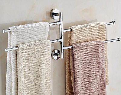 Bath Bathroom Towel Bar Rack Rotating Hanger Wall Mount Organizer Chrome Toilet