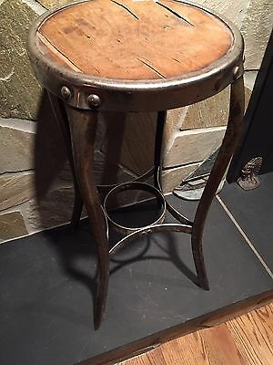 Vintage Nickel Plated Steampunk Toledo Industrial Metal Drafting Factory Stool