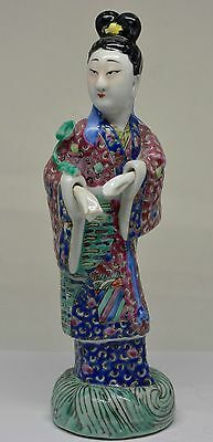 Antique Chinese Porcelain Familiie Rose Figurine ~ 9 Inches Tall  ~