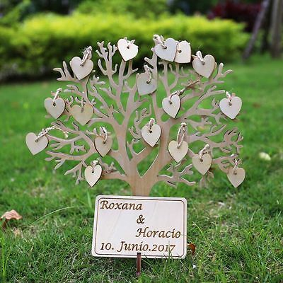 Wooden Tree Wedding Guest Book personalized  Wedding tree  with 50 heart