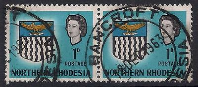 """NORTHERN RHODESIA 1963 SG76 1d PAIR  """"BANCROFT"""" CANCEL DOUBLE CIRCLE DATE STAMPS"""