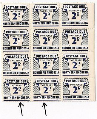 NORTHERN RHODESIA 1963 2d POSTAGE DUE SG D6 MNH BLOCK OF 12 WITH 3 VARIETY FLAWS