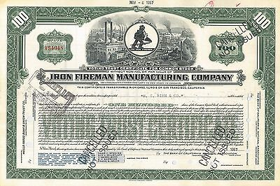 Iron Fireman Manufacturing Company > Oregon and California stock certificate
