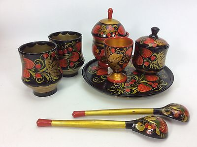 Vintage Russian Khokloma Hand Painted Wood Laquer Spice Jar Spoon and Cup Set