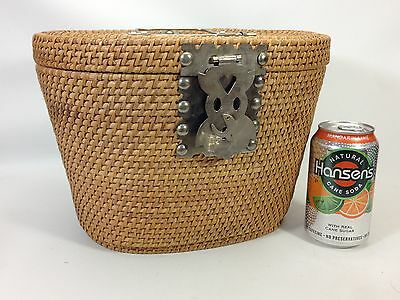 Vintage Chinese Teapot Wicker Carry Basket~Liner Removed