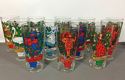 Vintage 12 Days of Christmas Tumblers Indiana Glass Glasses-Incomplete Mixed Set