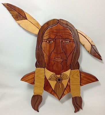 INTARSIA Wood Inlay Art Deco Indian Chief Wall Hang Sculpture-Signed-96 Pieces