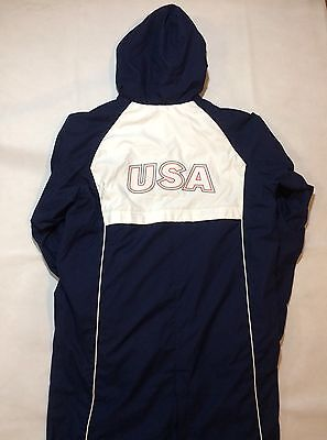 Speedo Blue Usa Team Parka  Fleece Lined Hooded Swim Coat Jacket Medium Olympic