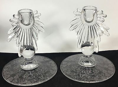 """Fostoria Baroque Flame Etched Leaf Single Candle Holder Set Pair - 6"""" Tall"""