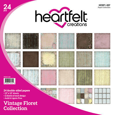 Heartfelt Creations Vintage Floret 12x12 Cardstock Paper Collection  Retired