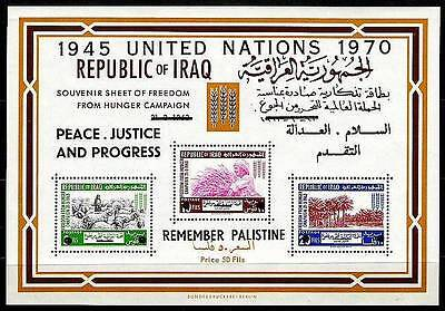 IRAQ IRAK 1970 UN Remember Palistine Overprint SOUVENIR SHEET 335b  MNH