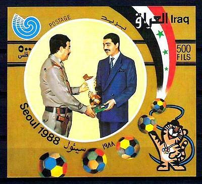 IRAQ 1988 Saddam Hussein & His Son Uday S/S  Scott No. 1356 SG# 1844  MNH RARE