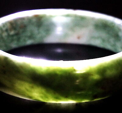 1940's Chinese Natural grade A jade Green&White jade carved bangle Bracelet 61mm