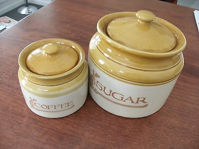 Bendigo pottery round coffee sugar jars Heritage container country kitchen style
