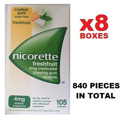 x8 Nicorette 4mg SugarFree Gum 105x8=840 Pieces - FreshFruit (Fusion)