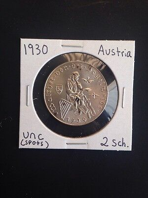 1930 Austria Two Schillings Uncirculated Silver Coin (Obv. Carbon Spots)