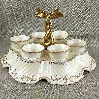 Antique Egg Cup Stand Cruet 19th C Victorian Pearline Luster Pottery Set Regency