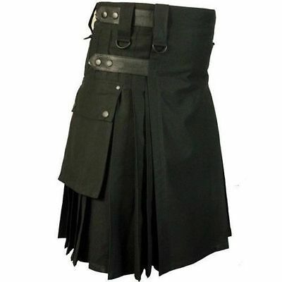 Men Scottish Utility Kilt Black 100% Cotton Custom Handmade Adult Free Shipping