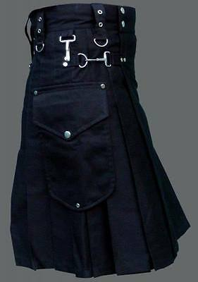Scottish Men Utility Kilt Black 100% Cotton Custom Handmade Adult Free Shipping