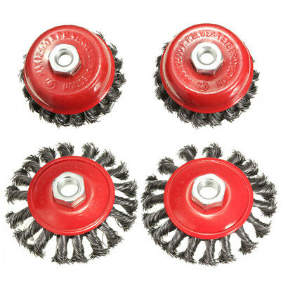 4pcs Twisted Steel Wire Wire Semi Flat Brush Wire Cup Brush Set With Nut Kit For