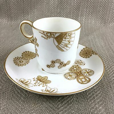 Antique Teacup & Saucer Royal Worcester Demitasse Coffee Can Victorian Aesthetic