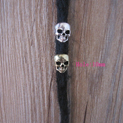 4 Anti Brass And Silver Mixed Skull Dreadlock Dread Bead Clips 10mm Hole