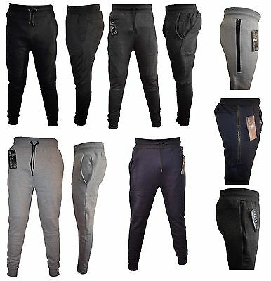 Boys Kids tracksuit bottoms fleece trouser sweatpants jogging with ZIP 3-12 year