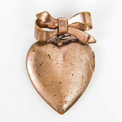 """Antique Heart Shaped Hinged Photo Locket Hanging from Bow Pin 1.5"""" L"""