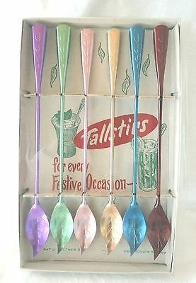 Vtg Tallstirs Aluminum  Drink Spoons Ray Walther Co Metallic Colors MCM w/Box