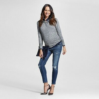 Maternity Inset Under the Belly Medium Wash Ankle Skinny Jeans - Liz Lange