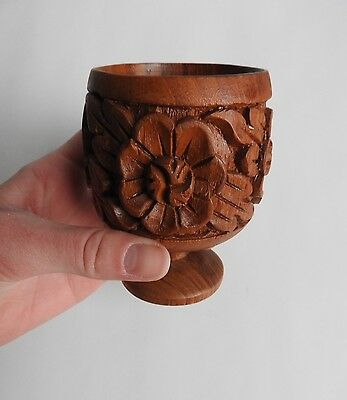 vintage wooden hand carved goblet cup dark brown flower great condition nice