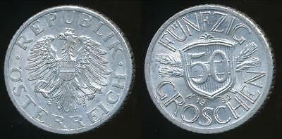 Austria, Republic, 1952 50 Groschen - almost Uncirculated