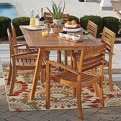 Home Furniture Outdoor Garden Patio Pool Side Acacia Wood Stacking Chair Set New
