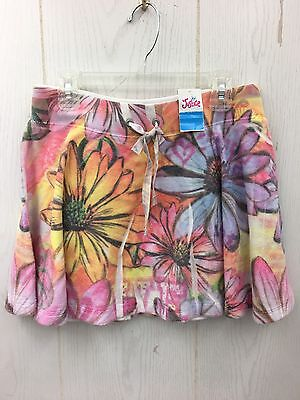 NWT Girls Pink/Blue Floral Terry Cloth Skirt Skort Scooter JUSTICE Sz 12 NEW