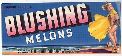 Original Vintage 1940s BLUSHING MELONS Crate LABEL Pin-Up Art California Unused