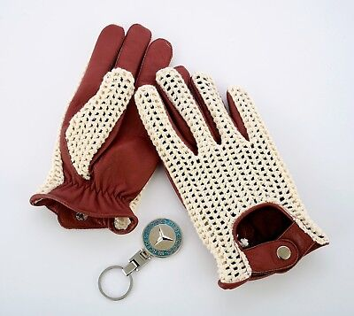New Men's Driving Gloves Chauffeur Leather Dress Fashion Classic Vintage Cognac